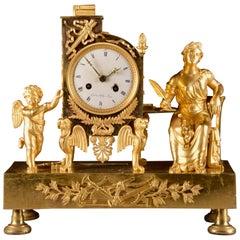 Elegant & Prestigious Fire-Gilt Empire Library Pendulum, Gaston Jolly circa 1800