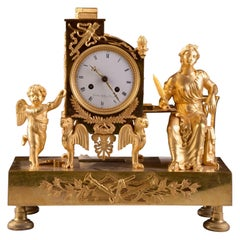 Elegant & Prestigious Fire-Gilt Empire Library Pendulum, Gaston Jolly circa 1800