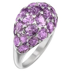Elegant Purple Amethyst White Diamond White Gold 18 Karat Dome Ring
