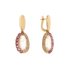 Elegant Quartz Rhodolite Brown Diamonds Rose Gold Earrings for Her Made in Italy