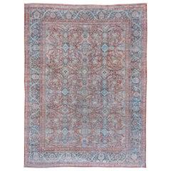 Elegant Red Antique Persian Mahal Carpet, Lightly Distressed