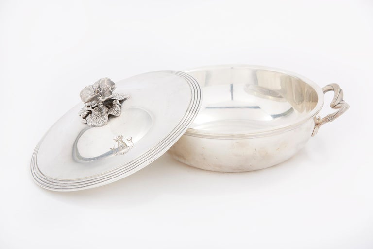 20th Century Elegant / Refined French Silver Covered Dish For Sale