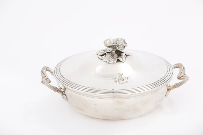 Elegant / Refined French Silver Covered Dish For Sale 3