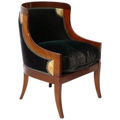 Elegant Regency Revival Chair in Forest Green Velvet