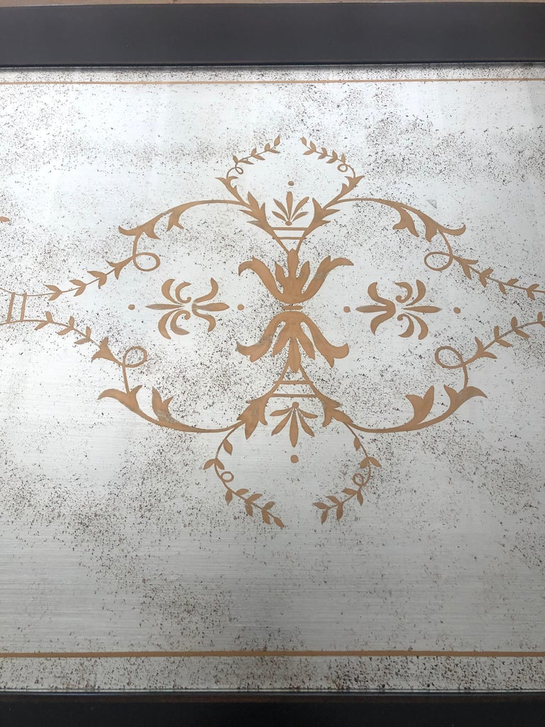 Contemporary Lillian August Regency Style Églomisé Mirrored and Ebonized Coffee Table For Sale