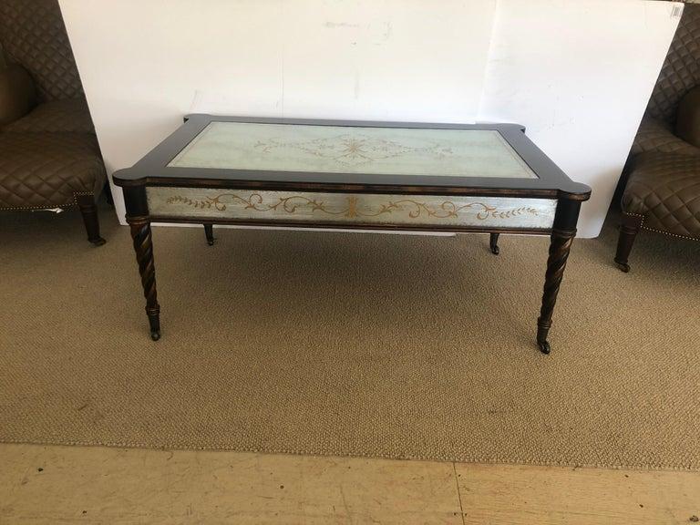 Lillian August Regency Style Églomisé Mirrored and Ebonized Coffee Table For Sale 3