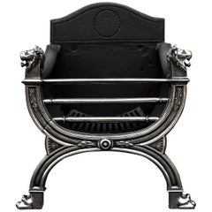 Elegant Regency Style Polished Cast Iron Fire Grate