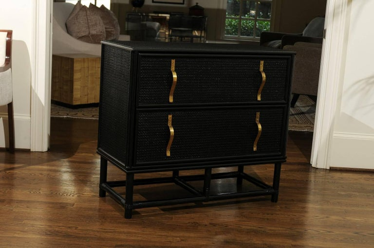 Elegant Black Lacquer Cane and Brass Commode by Tommi Parzinger - Pair Available In Excellent Condition For Sale In Atlanta, GA