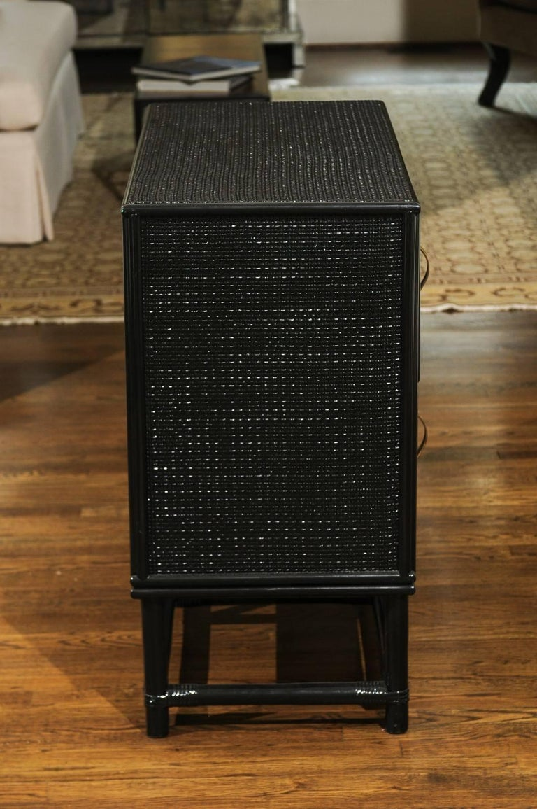 Elegant Black Lacquer Cane and Brass Commode by Tommi Parzinger - Pair Available For Sale 2