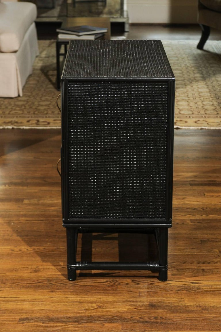 Elegant Black Lacquer Cane and Brass Commode by Tommi Parzinger - Pair Available For Sale 4