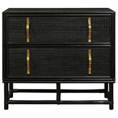 Elegant Black Lacquer Cane and Brass Commode by Tommi Parzinger - Pair Available