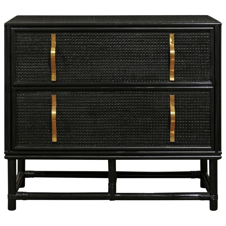 Elegant Black Lacquer Cane and Brass Commode by Tommi Parzinger - Pair Available For Sale