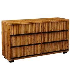 Elegant Restored Mahogany and Bamboo Chest, circa 1970