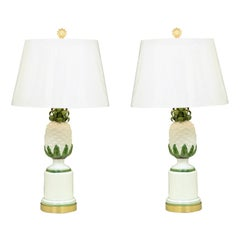 Elegant Restored Pair of Ceramic and Brass Pineapple Lamps, Italy, circa 1960