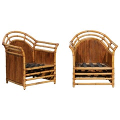 Elegant Restored Pair of Manau Club Chairs by Henry Olko, circa 1980