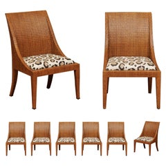 Elegant Restored Set of 10 Cane Dining Chairs by McGuire