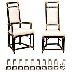 Elegant Restored Set of 12 Throne Dining Chairs by Henry Olko, circa 1955