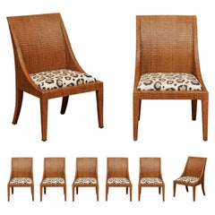 Elegant Restored Set of 8 Cane Dining Chairs by McGuire