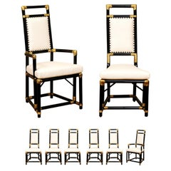Elegant Restored Set of 8 Throne Dining Chairs by Henry Olko, circa 1955