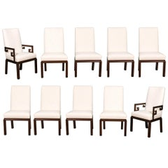 Elegant Restored Set of Ten Parsons Style Dining Chairs by Baker, Circa 1970