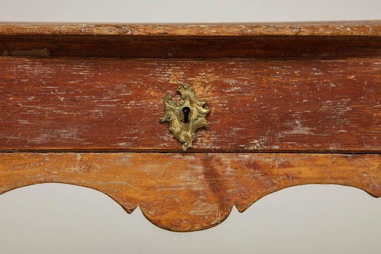 Swedish Elegant Rococo Pier Table with Drawer, Origin: Sweden, Circa 1760 For Sale