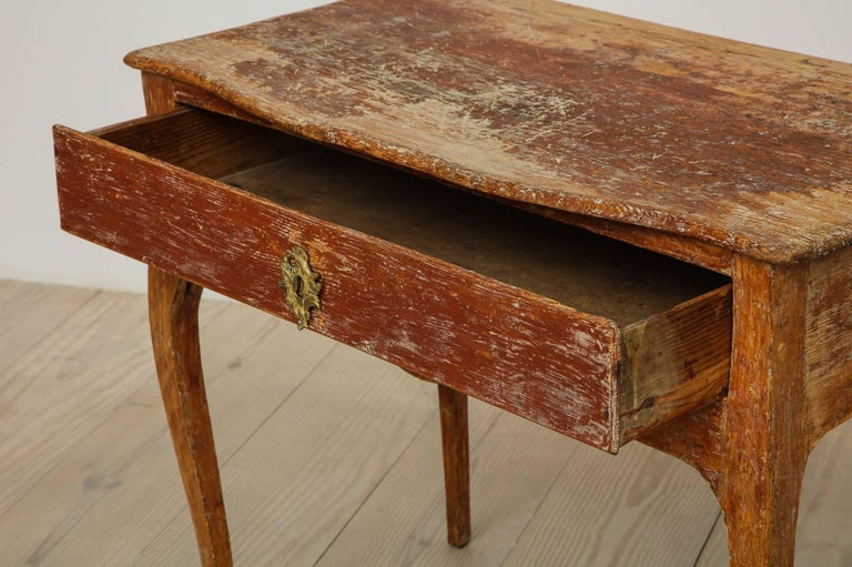 Hand-Carved Elegant Rococo Pier Table with Drawer, Origin: Sweden, Circa 1760 For Sale