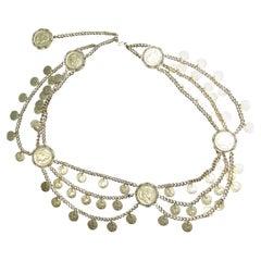 Elegant Roman Style Gilt Metal Coin Chain Belt c 1970s