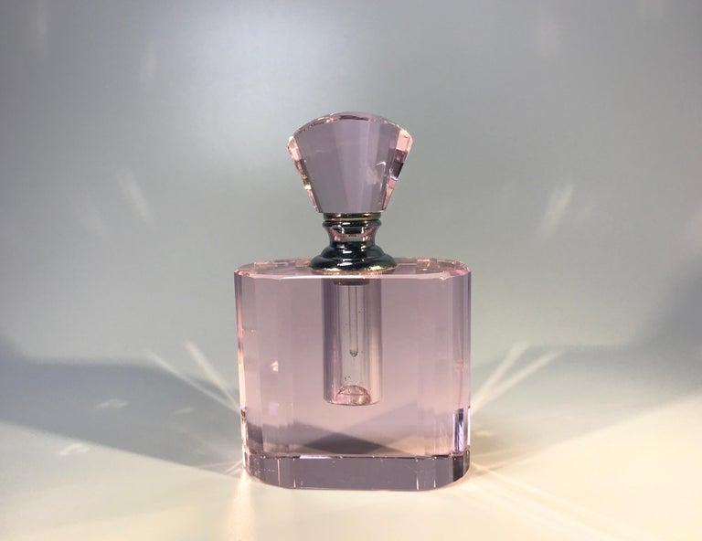 Rose pink glass scent bottle