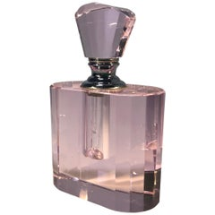 Elegant Rose Pink Crystal Vintage Faceted Glass Perfume Bottle Flacon