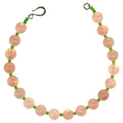 Gemjunky Rose Quartz and Green Czech Bead Necklace