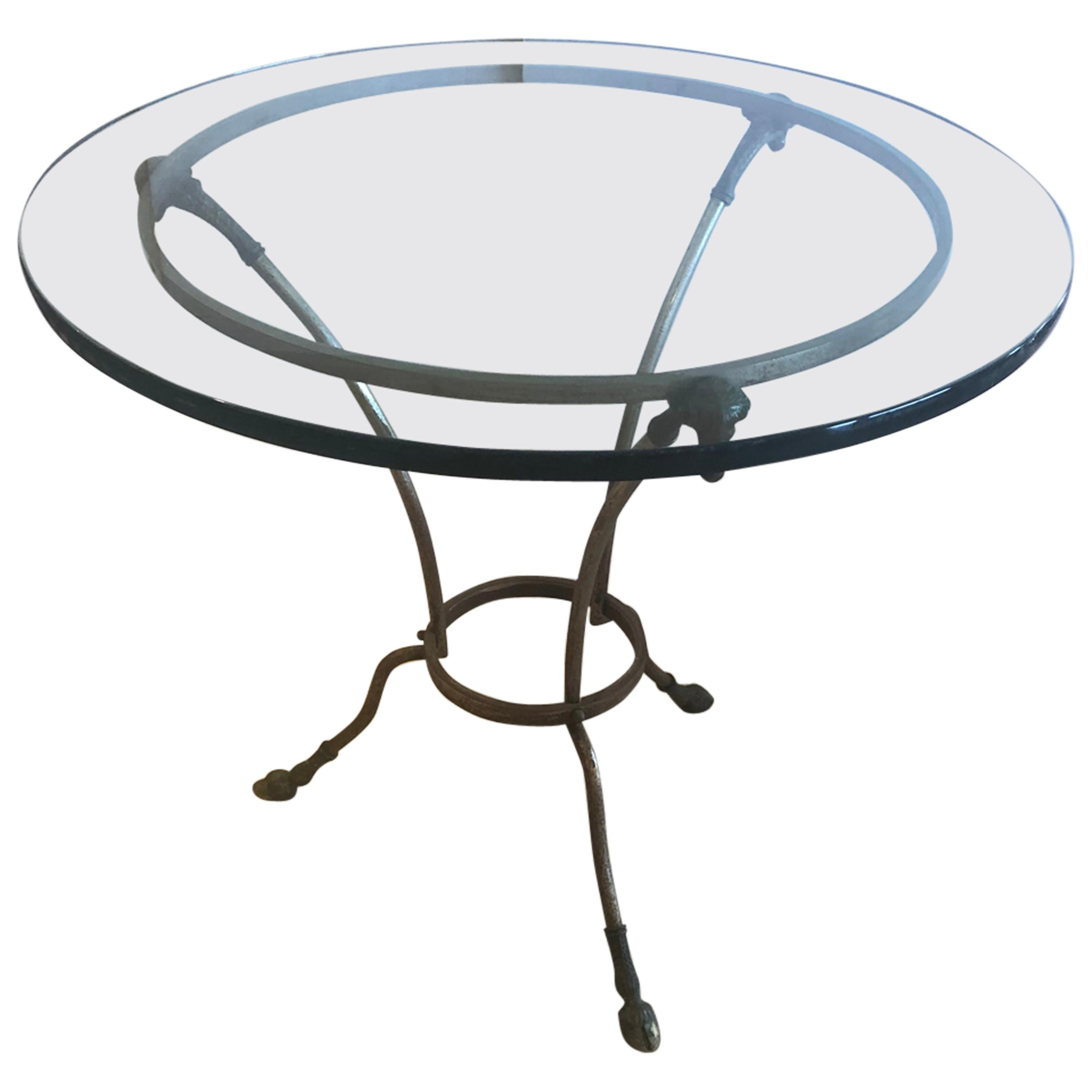 Elegant Round Maison Jansen French Steel and Bronze Side Table End Table