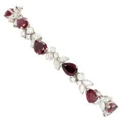 Elegant Ruby and Diamond Bracelet by Gübelin in 18 Karat White Gold