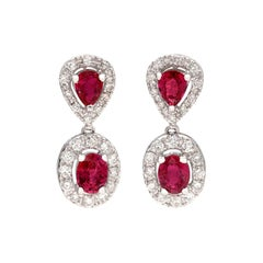 Elegant Ruby and Diamond Drop Earrings