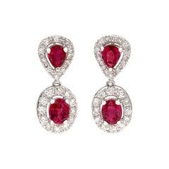 Elegant Ruby and Diamond Drop Earrings