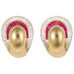 Elegant Ruby and Diamond Earrings