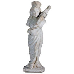 Elegant Sandstone Sculpture of Apsara Playing Sitar, 18th Century, India