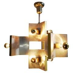 Elegant Sculptural Brass and Mirrored Metal Chandelier from Sciolari, 1970s