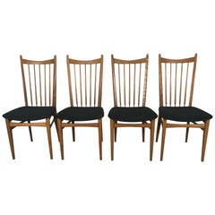 Elegant Set 4 Scandinavian Modernist Dining Chairs, Beechwood, Denmark, Sweden