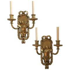 Elegant Set 5 E.F. Caldwell Gilt Bronze Two-Arm Neoclassical Bow-Top Sconces