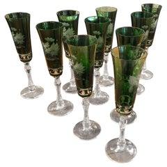 Elegant Set of 10 Vintage Etched Green Glass Champagne Flutes