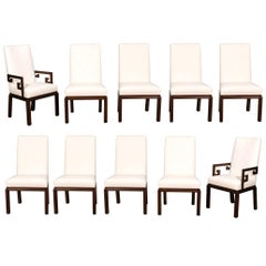 Elegant Set of 12 Parsons Dining Chairs by Michael Taylor for Baker, circa 1970