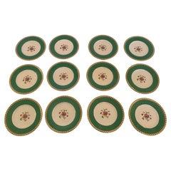 Elegant Set of 12 Tiffany China Dessert or Luncheon Plates