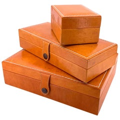 Elegant Set of 3 Leather Handstitched Jewelry Boxes