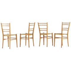 Elegant Set of 4 Modernist Papercord Chairs from France, 1950s
