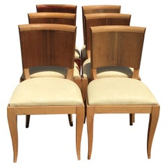 Classic and Elegant Set of 6 French Art Deco Dining Chairs, Beech and Rosewood