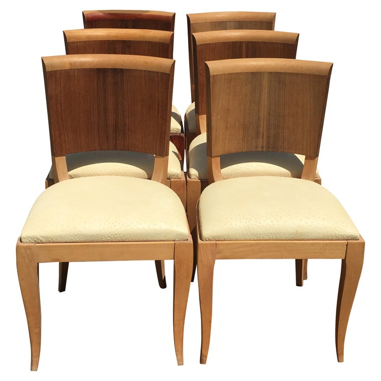 Classic and Elegant Set of 6 French Art Deco Dining Chairs For Sale