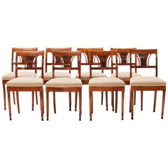 Elegant Set of 8 Danish Empire Chairs