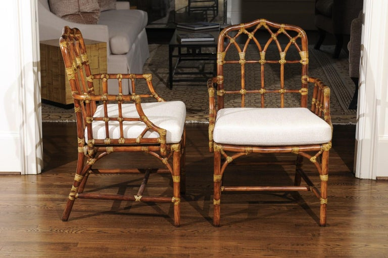 Elegant Set Of Eight Cathedral Back Arm Dining Chairs By