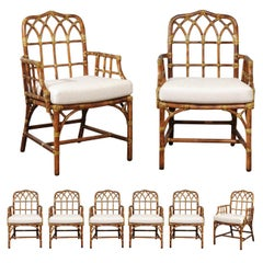 Elegant Set of Eight Cathedral Back Arm Dining Chairs by McGuire, circa 1970