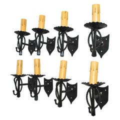 Elegant Set of Eight French Wrought Iron Sconces